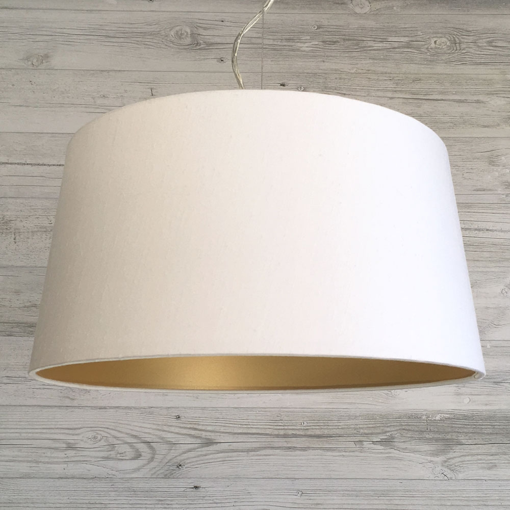 French Drum Lampshade White & Gold